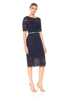 Ellen Tracy Women's 3/4 Sleeved Lace Dress with Self Belt