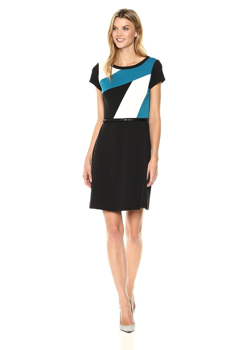 ELLEN TRACY Women's A-line Colorblock Dress-Peackock