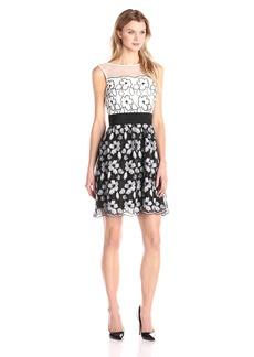 Ellen Tracy Women's a-Line Dress Illusion Neckline Sash Black/Ivory