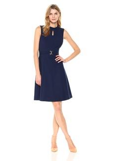 ELLEN TRACY Women's A- A-line Dress with Buckle