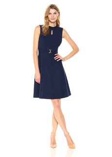 ELLEN TRACY Women's A-line Dress with Buckle
