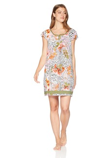 ELLEN TRACY Women's Animal Floral Chemise Hibiscus XL