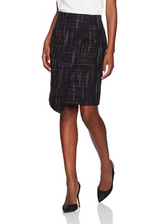 ELLEN TRACY Women's Asymmetric Zip Front Pencil Skirt
