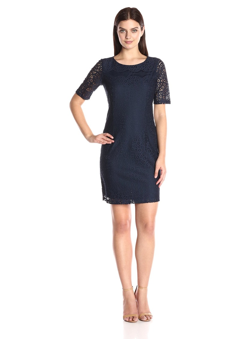 ELLEN TRACY Women's Batenburg Short Sleeve Lace Dress
