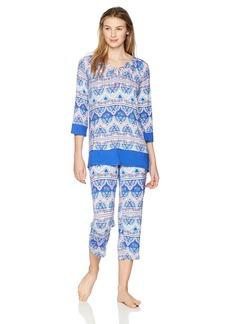 ELLEN TRACY Women's Batik Paisley Tunic Pajama Set Border M