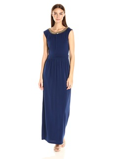 ELLEN TRACY Women's Beaded Collar with Lace Back Inset Gown