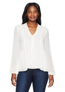 Ellen Tracy Women's Beaded Long Sleeve Top with Side Pleat  XL