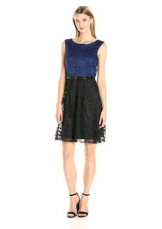 ELLEN TRACY Women's Belted Fit and Flare Lace Dress
