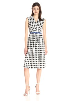 Ellen Tracy Women's Belted Midi Printed Dress with Vneck