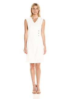 Ellen Tracy Women's Bi Stretch Button Detail Dress