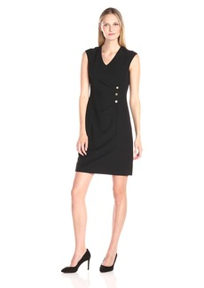 Ellen Tracy Women's Bi Stretch Button Detail Dress