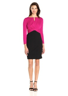 ELLEN TRACY Women's Bistretch Colorblock Dress with Ruching and Hardware Detail