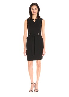 Ellen Tracy Women's Bistretch Dress with Pockets Self Belt and Gold Hardware Detail