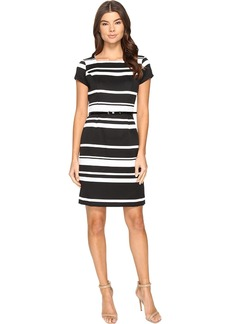 ELLEN TRACY Women's Black and Ivory Striped Pique Dress