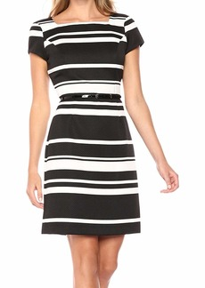 ELLEN TRACY Women's Black and Ivory Striped Pique Dress
