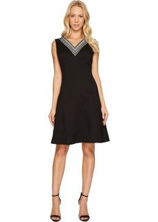 ELLEN TRACY Women's Black and White Pique Dress
