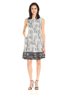 ELLEN TRACY Women's Black and White Printed Fit and Flare Dress
