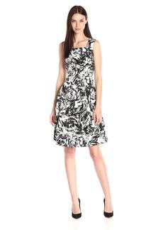 ELLEN TRACY Women's Black and White Printed Sleeveless Drop Waist Dress Ivory