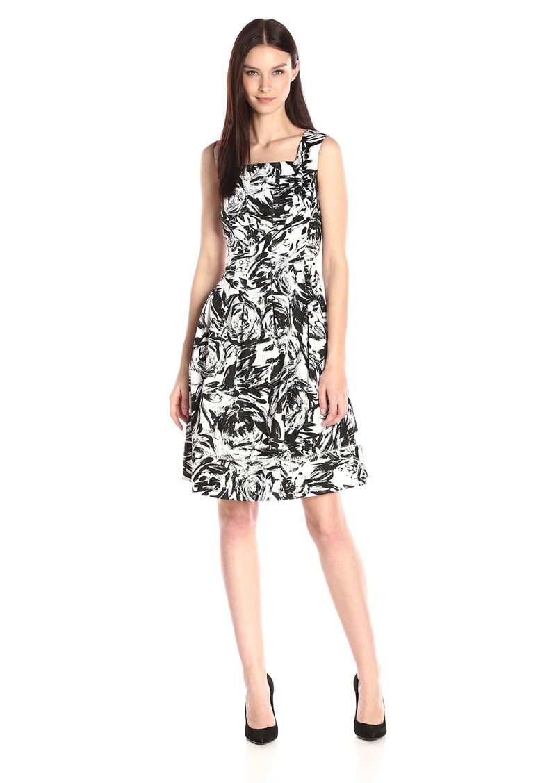 ELLEN TRACY Women's Black and White Printed Sleeveless Drop Waist Dress Ivory