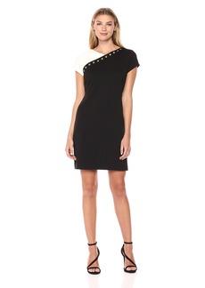 ELLEN TRACY Women's Black and White Short Sleeve Dress