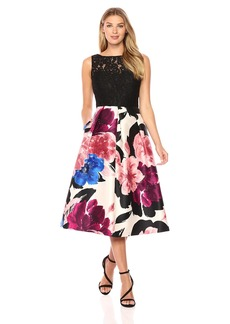Ellen Tracy Women's Black Lace and Floral Print Arcadia Cocktail Dress