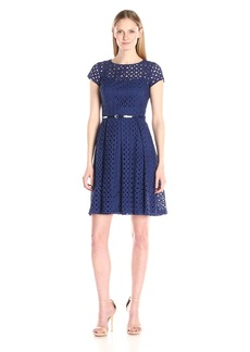 Ellen Tracy Women's Black Short Sleeve Eyelett Dress with Belted Waist