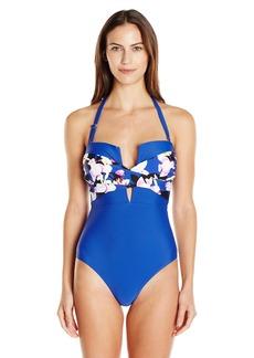 Ellen Tracy Women's Bloomin' Bombshell Twist Plunge One Piece Swimsuit