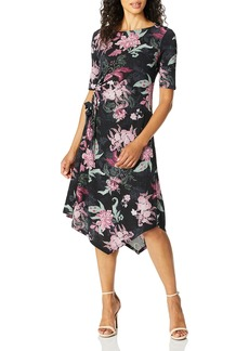 ELLEN TRACY Women's Boat Neck Dress with Rouching Detail ORNM Floral/nite Sky L
