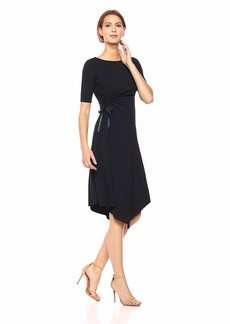 ELLEN TRACY Women's Boat Neck Dress with Rouching Detail  S
