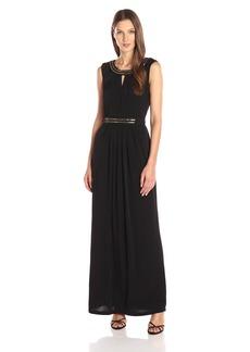 ELLEN TRACY Women's Boatneck Long Dress with Metal Detail