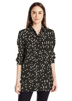 Ellen Tracy Women's Boyfriend Shirt Petals/EL Black L