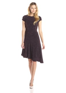 Ellen Tracy Women's Cap Sleeve Asymmetric Hem Flare Dress