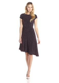 Ellen Tracy Women's Cap Sleeve Asymmetric Hem Flare Dress