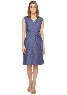 ELLEN TRACY Women's Cap-Sleeve Dress with Self Belt and Sweetheart Neckline