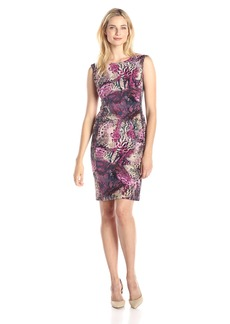Ellen Tracy Women's Cap Sleeve Printed Sheath Dress