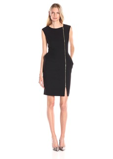 Ellen Tracy Women's Cap Sleeve Sheath Dress with Asymetrical Zipper