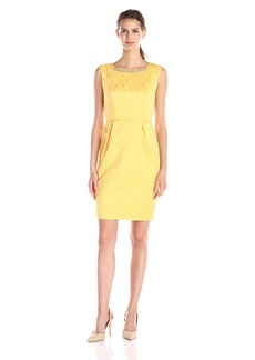 Ellen Tracy Women's Cap Sleeve Sheath Dress with Embellished Neckline