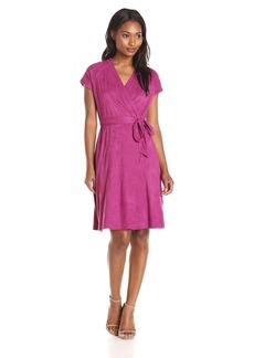 Ellen Tracy Women's Cap Sleeve Suede Wrap Dress