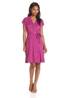 Ellen Tracy Women's Cap Sleeve Suede Wrap Dress