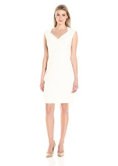 Ellen Tracy Women's Cap Sleeved Crepe Dress with Vneck