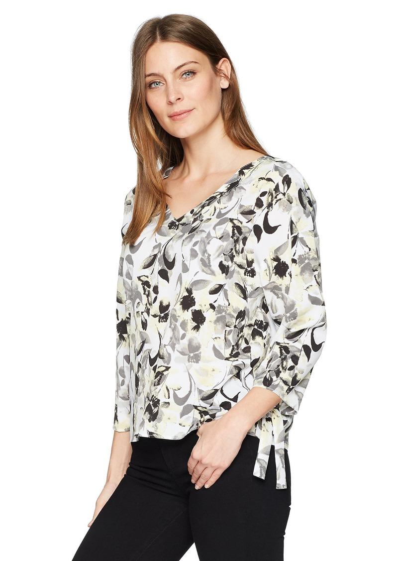 ELLEN TRACY Women's Cinched Tie Sleeve Top Ava Blooms-White L