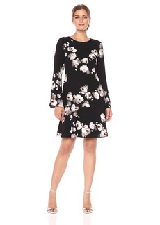 Ellen Tracy Women's Cloque Long Sleeve Flounce Dress