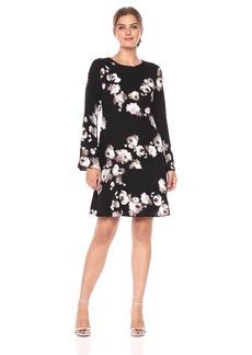 ELLEN TRACY Women's Cloque Long Sleeve Flounce Dress