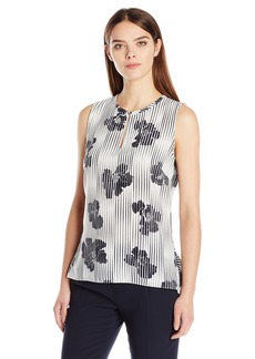 ELLEN TRACY Women's Collarless Peplum Back Top  L