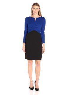 Ellen Tracy Women's Colorblock Luxe Stretch Dress