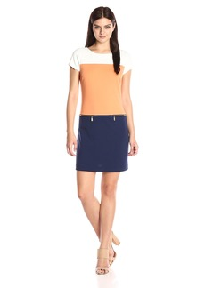 Ellen Tracy Women's Colorblock Ponte Dress