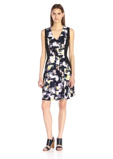 Ellen Tracy Women's Contrast Fit and Flare Dress