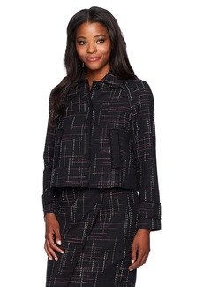 ELLEN TRACY Women's Contrast Stitch Detail Tweed Jacket