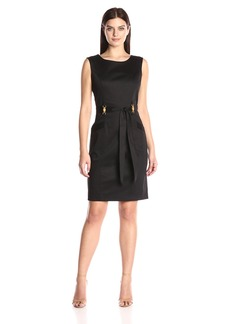 Ellen Tracy Women's Cotton Dress with Self Belt. Hardware Detail