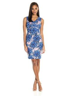 Ellen Tracy Women's Crepe Jersey Lotus Print Dress